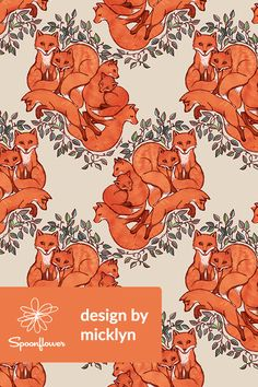 Fox Family Tangle by micklyn - Hand painted fox family with emerald leaves on fabric, wallpaper, and gift wrap. Bright orange foxes with green vines on a beige background hand painted by indie designer micklyn. Perfect for wallpapering a powder room or making napkins for a dinner party. #homedecor #fabric #foxes #fox #illustration #design #wallpaper #renovation