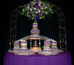 Purple Gold and Ivory Q cake - Fondant covered purple, ivory and gold Quinceanera cake.