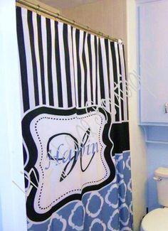 Monogrammed Shower Curtain Www Facebook Com Lizzylaneboutique