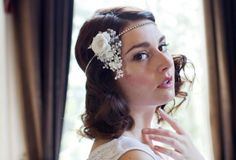 1920s style wedding head piece,crystal forehead band with silk side flower and lace dangles.Bohemian bridal headpiece,Great Gatsby wedding