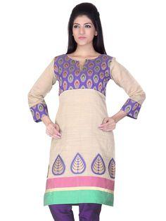 A #elegant #chanderi #silk #kurta with #beautifully engineered motif border. The contrast #chanderi #buti #yoke makes it look very #attractive from #DesignsByKavitaS by #LifestyleRetail