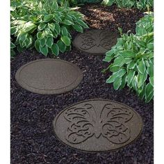 Envirotile 18 in. x 18 in. Reversible Butterfly Terra Cotta Stepping Stone Envirotile 18 in. x 18 in. Reversible Butterfly Terra Cotta Stepping Stone - The Home Depot Concrete Stepping Stones, Mosaic Stepping Stones, Rubber Mulch, Rubber Mat, Recycled Rubber, Recycled Tires, Easy Garden, Garden Ideas, Garden Art