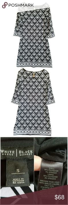 """NWOT WHBM Geometric Print 3/4 Sleeve Sheath Dress NWOT WHBM Geometric Print 3/4 Sleeve Sheath Dress. Black and white. Approximate measurements: 35"""" L; Ptp 17""""; 16"""" at natural waist. Semi-fitted stretch silhouette. Boat neckline and 3/4 sleeves. Keyhole at back with button and loop closure. Fully lined 4th Pic for fit reference No rips, tears, stains. No Trades! White House Black Market Dresses"""