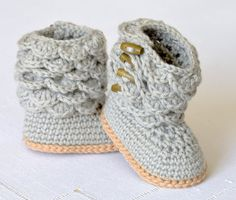 NEW CROCHET PATTERN for Baby Booties with Scalloped Cuffs - Please note that this listing is for a PATTERN and NOT finished items - you will NOT
