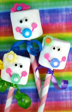Sweetology: Virtual Rainbow Baby Shower for Meaghan Mountford ~ The Decorated Cookie! Marshmallow Baby Pops!!