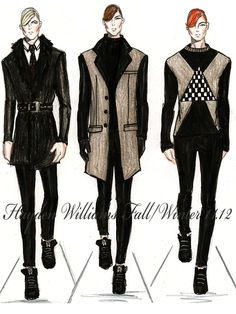 haydenwilliamsillustrations:    Hayden Williams Fall/Winter 11.12 Mens collection.      I'd totally wear the outfit on the left