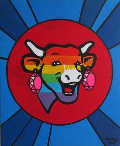 """La Vache Gaie"" / Collection : My Icons /  Acrylic / 38cm x 46cm  / December 2012 / by Bianca VOCE"
