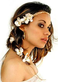Headband Trançado com Cascata de Flores | Bazar da Kah | Elo7