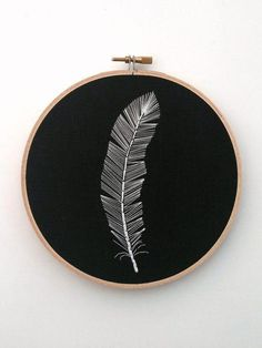 Hand Embroidered Feather Black And White Decor Feather Wall Art Embroidered Feather Modern Embro Diy Embroidery Shirt, Embroidery Stitches Tutorial, Hand Embroidery Stitches, Modern Embroidery, Embroidery Hoop Art, White Embroidery, Hand Embroidery Designs, Embroidery Techniques, Cross Stitch Embroidery