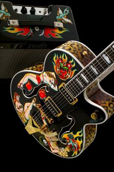 Gretsch guitars are being built since 1883. They need no introduction. Everyone knows the hollow-body guitars with the Bigsby like the Brian Setzer and the White Falcon models. But they also make acoustic guitars. And their Custom Shop creates awesome hand-painted guitars.