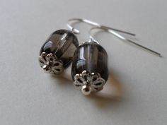 Oblong Gray Tinted Clear Glass Bead Earrings
