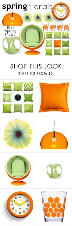 """""""green orange"""" by angie-324 ❤ liked on Polyvore featuring interior, interiors, interior design, home, home decor, interior decorating, Matouk, Kartell, AveSix and H&M"""
