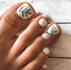 Feet Nail Design, Pedicure Nail Designs, Manicure E Pedicure, Toe Nail Designs Simple, Tow Nail Designs, Toenail Art Designs, Pretty Toe Nails, Cute Toe Nails, Fancy Nails