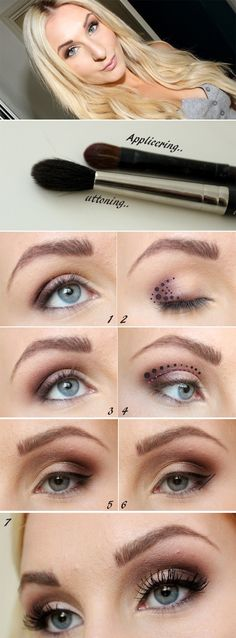 Eye makeup tutorial for blue eyes. (Also nice for green, but don't go overboard with pink)