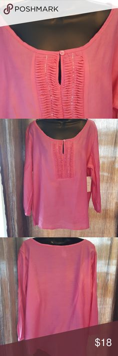 "Karen Brooks NWT~ Beautiful Pink Tunic. Button cuff sleeves.  Length measure shoulder to hem 23"" Bust measures up too 44 Sleeves measures 20"" 79% Rayon, 21% Nylon. Karen Brooks Tops Tunics"