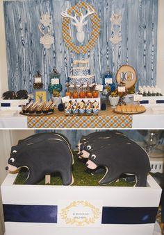 modern nature inspired party dessert table with grizzly bear cookies