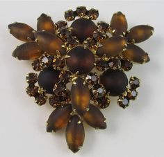 Vintage JULIANA D&E Brown Topaz Frosted Rhinestone Raised Triangle Brooch