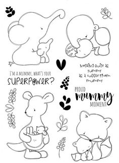 Elephant/Transparent Clear Stamps for DIY Scrapbooking/Card Making/Kids Christmas Fun Decoration Supplies Tampons Transparents, Cute Easy Drawings, Diy Scrapbook, Colouring Pages, Digital Stamps, Doodle Art, Doodle Kids, Kids Christmas