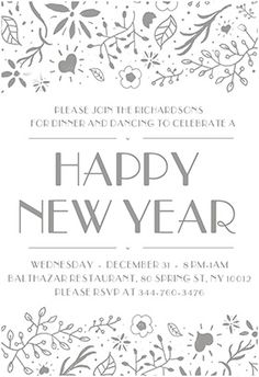 fancy flora free new year invitation template greetings island