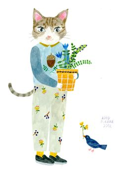 aiko fukawa ' Hello Moses ! ' cat pants acorn adorable 2014 drawing illustration plant amazing cute kawii