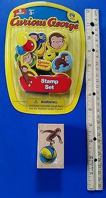 #CuriousGeorge #RubberStamp Lot-10 New Set and On Ball Wood #Cardmaking #Stamping