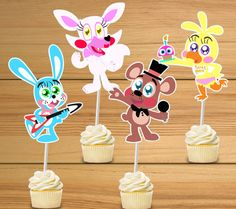 FNAF Party Cupcake Toppers - Five Nights at Freddy's Set of 24