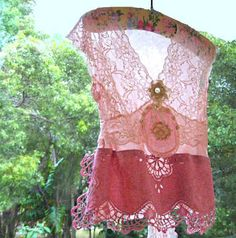Illusion Top Tank Sheer Recycled Lacy Vintage by AllThingsPretty, $75.00