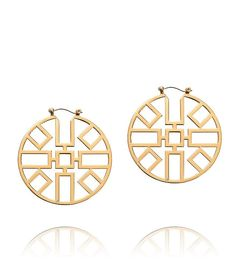 Tory Burch _ Jordan WIRE HOOP EARRING $125.00.  The open fretwork pattern on the Jordan Hoop Earring was inspired by geometric designs found on ancient Mediterranean tiles.