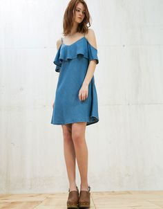 Off shoulder ruffle Tencel dress. Discover this and many more items in Bershka with new products every week