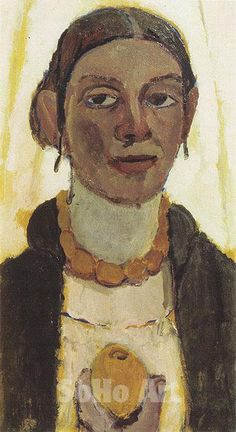 Self Portrait with Lemon c1906 - Paula Modersohn-Becker reproduction oil painting