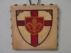 Heraldry Coat of Arms Family Crest Heraldic Shield Fleur De Lis Cross antique finish medieval gothic original painting via Etsy