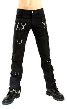 Hook and Ring Pants Denim Black - Mens gothic, industrial and cyber pants.