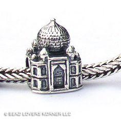 India Taj Mahal Landmark Bead Sterling Silver fits Pandora, Biagi and other European bracelets, $32.00
