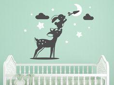 Wandtattoo Reh und Hase im Kinderzimmer in grau und weiß