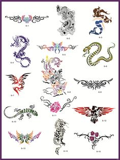 Libro 6 Golden Phoenix temporal de maquillaje con aerógrafo tatuaje Stencil - 15…
