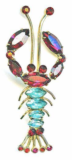 Vintage 1940's CORO Aqua & Ruby Rhinestone Figural Lobster Brooch Pin #Coro