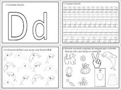 EDUCATIA CONTEAZA: FISE DE LUCRU - LITERELE ALFABETULUI - CLR (COMUNICARE IN LIMBA ROMANA) Cursive Writing Worksheets, Easy Easter Crafts, Letter Activities, Letter D, Learning To Write, Homeschool, Bullet Journal, Google, Diy