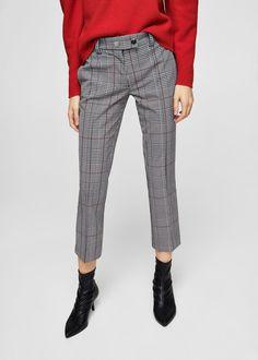 Check crop trousers | MANGO