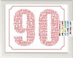 Personalized Birthday Word Art Birthday Print - Birthday Gift 8 x 10 90 Year Old Birthday Gift Ideas 90th Birthday Decorations, 90th Birthday Cards, Grandpa Birthday Gifts, Mom Birthday Crafts, 50th Birthday Quotes, Birthday Words, Birthday Gift Baskets, Personalized Birthday Gifts, Birthday Gift For Him