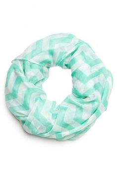 Infinity scarf. They have tons of them at Debs and I like the blue and white one with black polka dots on it