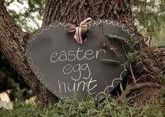 Black chalkboard heart in the Easter garden ~ so great!