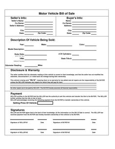 new bill of sale form for a car in texas