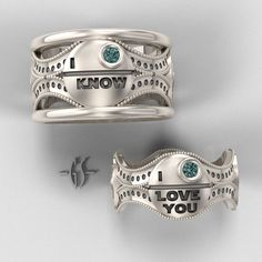"""Stars Wars Wedding Rings """"...for better, for worse, for richer, for poorer, in sickness and in health, until * the death star*  do us part."""""""
