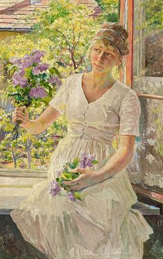 Franz Paul Maria Guillery - Young Girl with Lilacs Sitting On The Windowsill