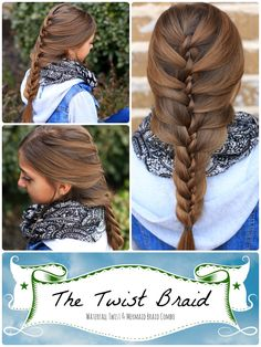 Twist Braid Instructions. #braid #twist #cutegirlshairstyles #hairstyles #braids