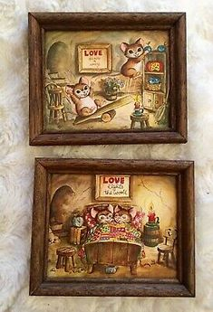 Pair W M Otto Mice Print Canvas Frame 7 In Love Big Eyes Valentines | eBay Big Eyes, Mice, Canvas Frame, My Ebay, Canvas Prints, Valentines, Artist, Valentine's Day Diy, Computer Mouse