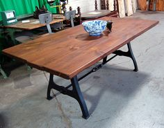 Farm Table with Industrial turnbuckle: Rustic/Urban Farm Table Handmade Furniture, Fine Furniture, Wooden Furniture, Diy Table, Dining Table, Kitchen Tables, Kitchen Island, Dining Room, Farmhouse Chic