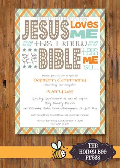 Baptism Invitation for Baby Boy ... Jesus Loves Me ... by The Honey Bee Press