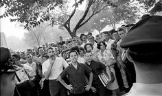 'We make pictures because of what stands in front of the camera, to honour what is greater and more interesting than we are' ... Robert Adams captures students protesting the enrollment of black pupils at West End High School in Birmingham, Alabama 1963. Photograph: Robert Adams/Polaris/Eyevine