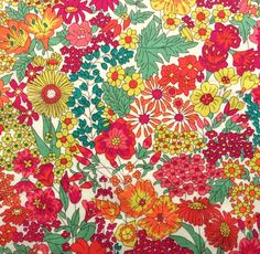 """Margaret Annie B fabric fat quarter stoffen tana lawn 18"""" x  26.5"""" (45 cm x 67 cm) red pink green orange yellow The Weavers Mill by TheWeaversMill on Etsy"""